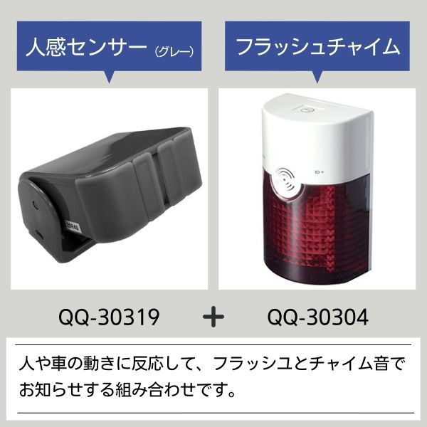 無線チャイムXプラス 人感センサー・フラッシュチャイムチャイムの組み合わせ