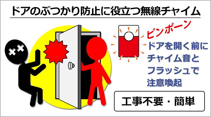 ドアのぶつかり防止に役立つ無線チャイム