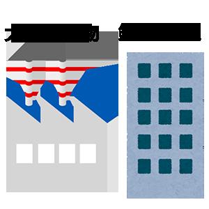 大きな建物、鉄筋構造 工場とビルのイラスト