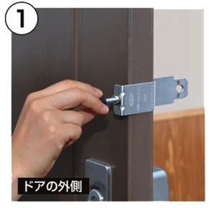 ドアに金具を締め付ける