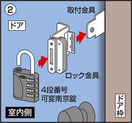 徘徊防止ロック 取付手順② ロック金具を射し込んで、南京錠で施錠