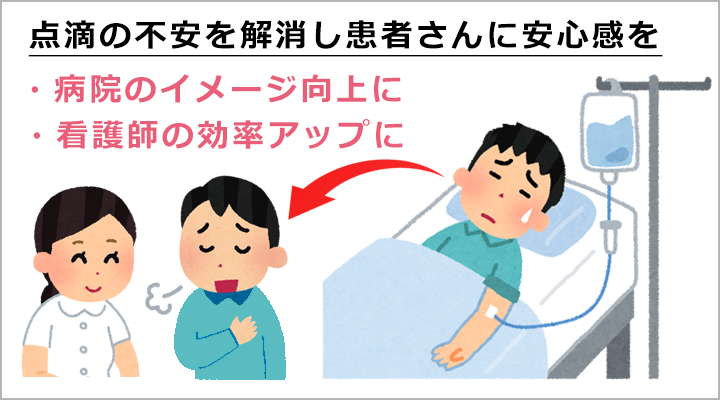 点滴の不安を解消 病院のイメージアップ 看護師の効率アップ