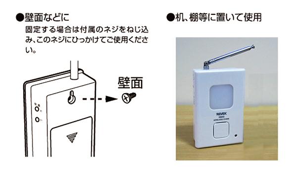 受信チャイムの設置は、壁掛けまたは卓上の置く