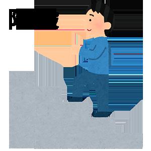 階段のイラスト、階段を上る男性