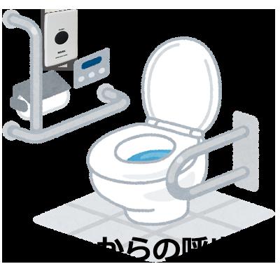 トイレにボタンを設置したイラスト
